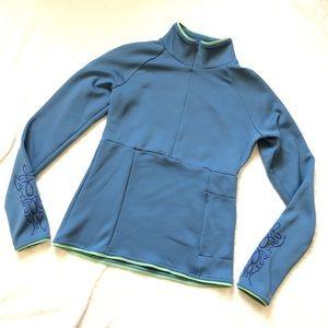 Athleta brushed fleece blue & green 1/2 zip/ S